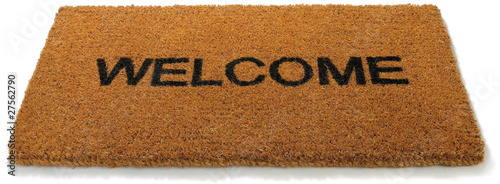 Obraz Welcome front door mat on a white background - fototapety do salonu