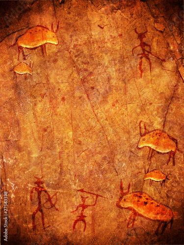 Fotomural prehistoric cave paint with hunters and animals
