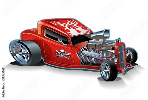Staande foto Cartoon cars Vector cartoon hotrod