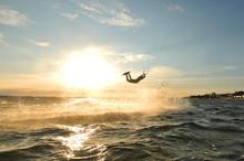 Portrait Of A Jumping Kiteboar...