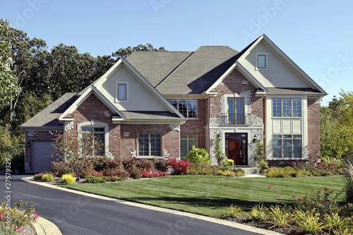 Fotografie, Obraz  Brick home with front balcony