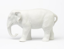 White Elephant Figure Over White Background.
