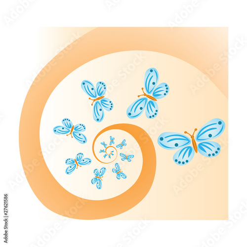 butterflies on spiral background - illustration Wallpaper Mural