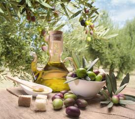 Fototapeta Oil and olives