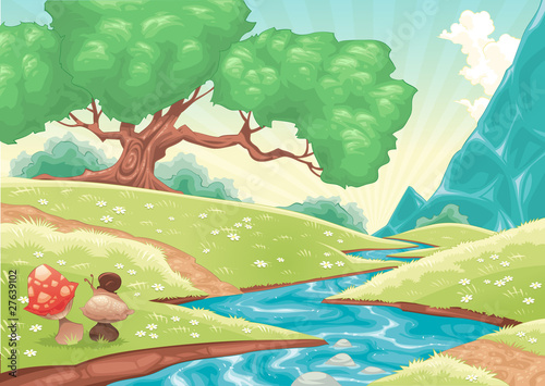 Canvas Prints River, lake Cartoon landscape with stream. Vector illustration.