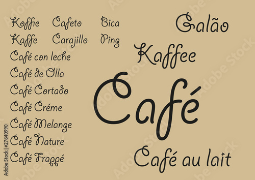 Garden Poster Retro sign Coffee languages_2