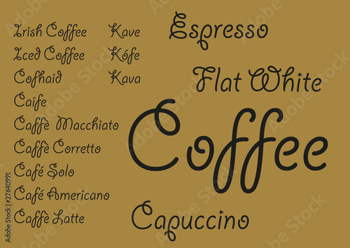 Garden Poster Retro sign Coffee languages_1