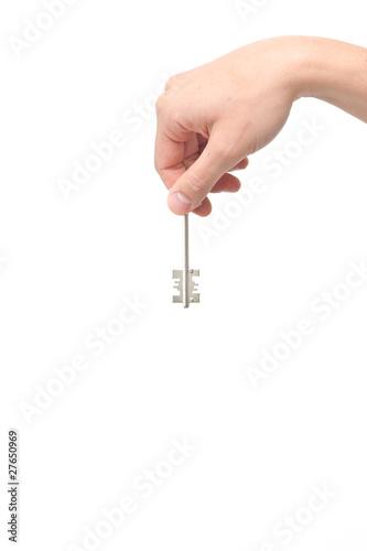 Fototapeta Male hand holding a key obraz na płótnie