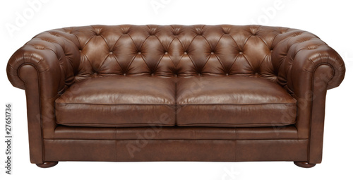 Fotografie, Obraz  Image of a modern brown leather sofa over white background