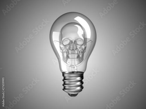 spooky skull inside lightbulb death and disease buy this stock