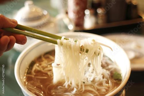 In de dag Milkshake Vietnamese pho noodles with beef at a restaurant.