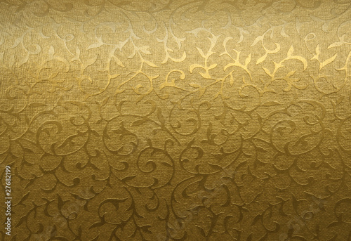 Fotografía  Golden floral ornament brocade textile pattern