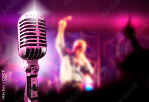 Fotografie, Obraz  Fondo de musica con microfono y concierto