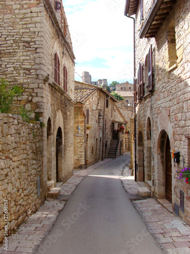 Quaint street in Assisi, Umbria, Italy