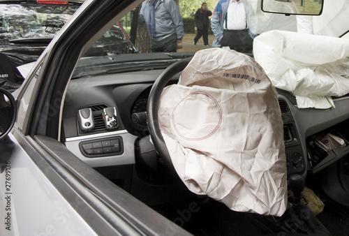 Airbag after crash Canvas Print