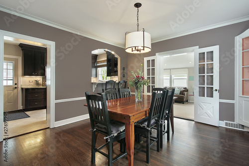 Fotomural  Dining room with kitchen view