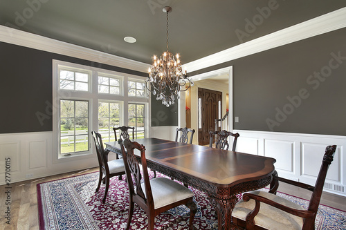 Fotomural  Dining room with olive-colored walls