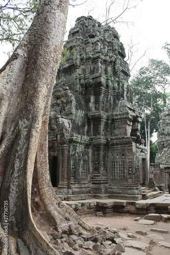 In de dag Bedehuis old temple in thailand with big roots of trees