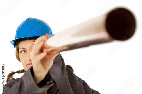 Valokuva  Female construction worker