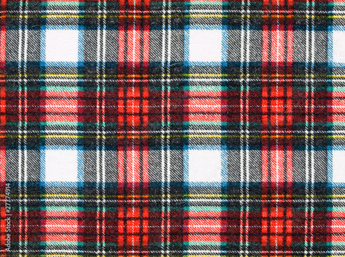 Full Frame Background of Red and Blue Plaid Fabric Canvas Print