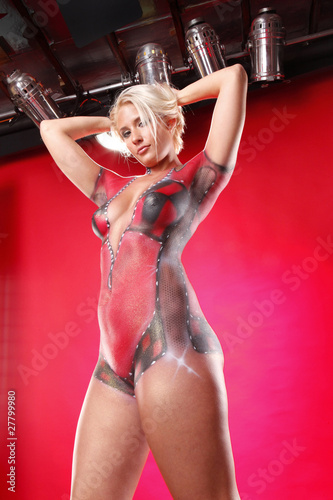 Door stickers F1 Full body gorgeous blond in racing body paint