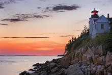 Bass Harbor Lighthouse At Sunset, Acadia National Park, Maine