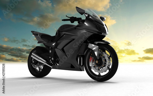 Poster Motocyclette superbike on white background and sky