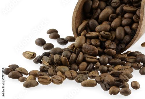 Staande foto Koffiebonen grains de café torréfié
