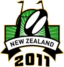 New Zealand 2011 With Rugby Posts And Ball In A Shield