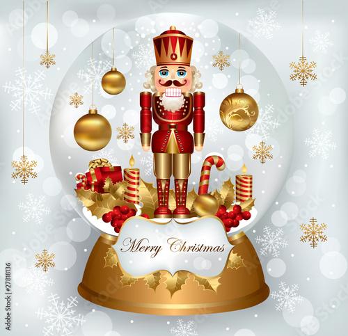 Fotografía  Christmas snowglobe with Nutcracker