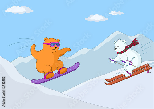 Wall Murals Bears Teddy bears ski in mountains in day