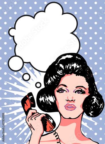 Naklejka Kobieta z telefonem