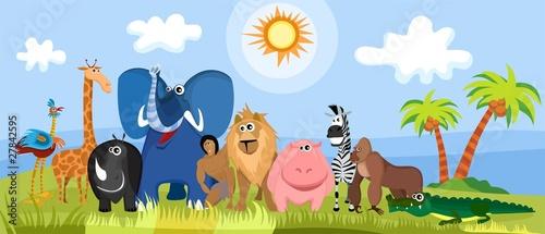 Poster de jardin Zoo cute africa animals