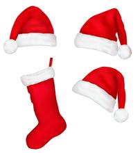 Three Red Santa Hats And Chris...