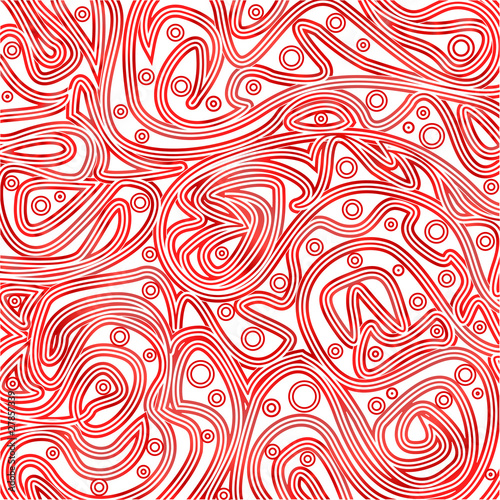 Pattern of tangled lines and rounds on white background