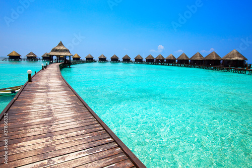 Fotografie, Obraz  Maldives. .Villa on piles on water.