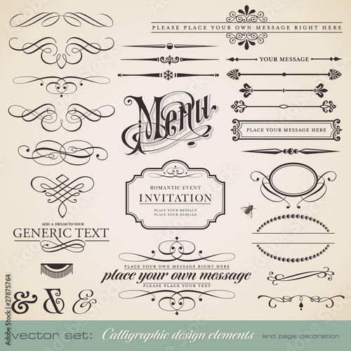 Fotografie, Obraz  vector set: calligraphic elements and page decoration