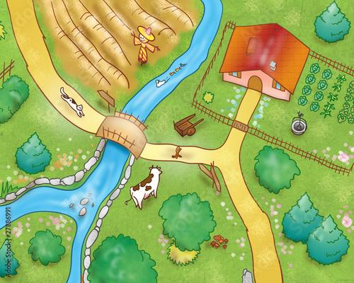 Poster de jardin Route Vista aerea: campagna con animali e fattoria