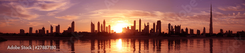 Cityscape Dubai, Sunset Wallpaper Mural