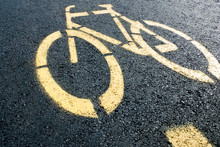 Bicycle Lane Sign On Road