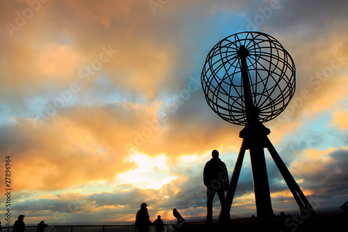 Poster Noord Europa The globe at Nordkapp, Norway