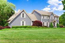 Suburban Maryland Single Family House Colonial Georgian Lawn Sky