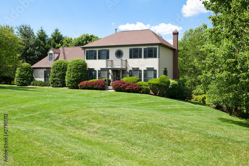 Fotomural Suburban USA Single Family House Hillside French Provincial