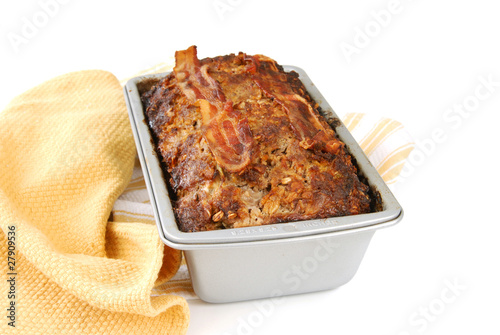Photo  Baked meatloaf in the pan