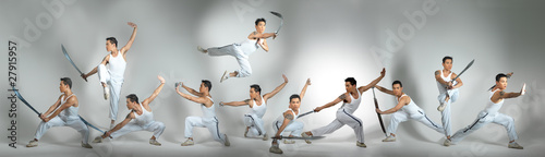 фотографія  Chinese Man Practising Martial Arts isolated background