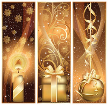 Set Golden Christmas Banner. V...