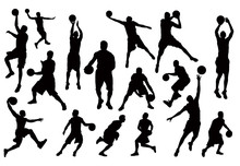 Silhouettes Of Basketball Play...