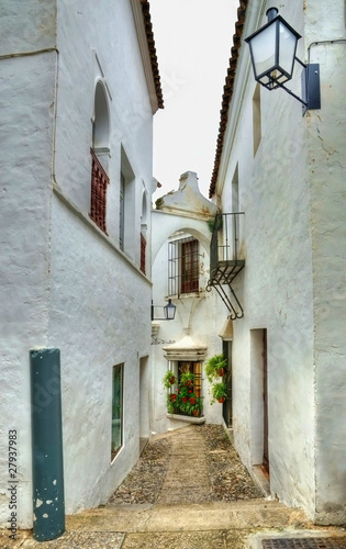 Small narrow street in spanish city with white houses