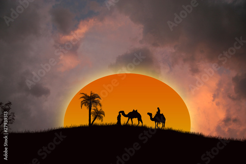 Canvas Prints Red Sunset in the Sahara