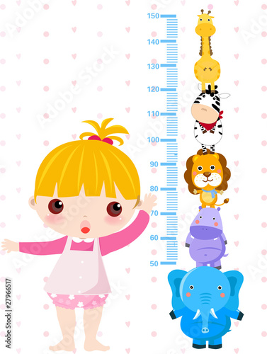 Photo Stands Height scale Girl checking her height